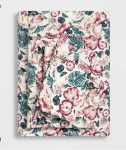 Queen Printed Pattern Percale Sheet Set Purple Floral - Opal