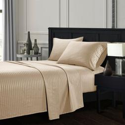 Soft KING SIZE SHEETS Count Striped Deep Pocket 4 Piece Bed
