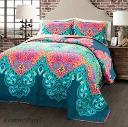 Queen Size Bedding Boho Chic Quilt Set Bold Moroccan Style P