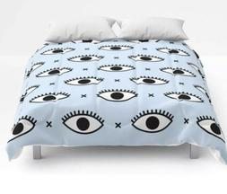 Society6 Queen Size Comforter Pastel Baby Blue With Evil Eye