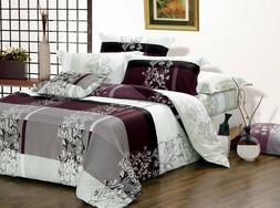 Queen Size May Pattern Cotton Bedding Set:1 Duvet Cover & 2
