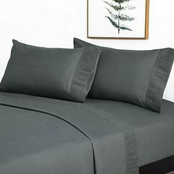 Bedsure Queen Size Sheets- Ruffled Embossed Bed Sheet Set -