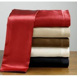 Queen Size Silk Feel Satin Pillowcase+Fitted+Flat Bed Sheet