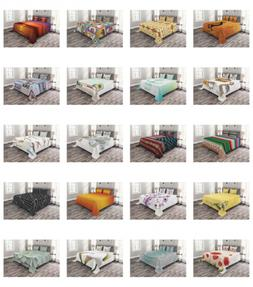 Ambesonne Quilted Bed Cover Set Coverlet Bedspread