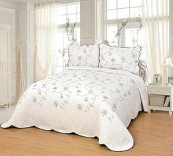 Quilted Embrodiery Bedspread Bed Coverlets Covers Set Taupe