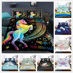 Rainbow Unicorn Duvet Cover Set Unicorn Bedding Kids Cartoon