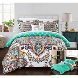 Chic Home 8 Piece Raypur Reversible Boho-Inspired Print and