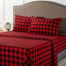 Mainstays Red Black Buffalo Plaid Cotton Flannel Bed Sheet S