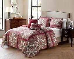 VCNY Red Istanbul 5-Piece Queen Quilt Set
