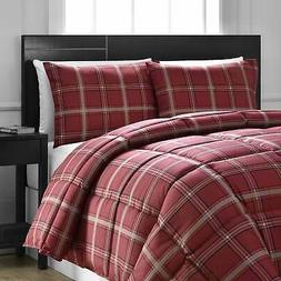 Comfy Bedding Red Plaid Down Alternative 3-piece Comforter