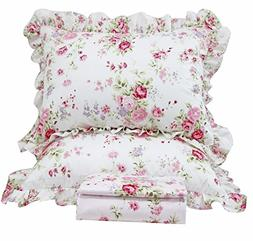Queen's House Romantic Roses Print Duvet Cover Bedding Sets-