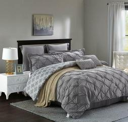 Unique Home's Pinch Pleat Alternative Comforter Grey 8pc Lux