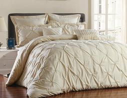Unique Home's Pinch Pleat Alternative Comforter Taupe 8pc Lu