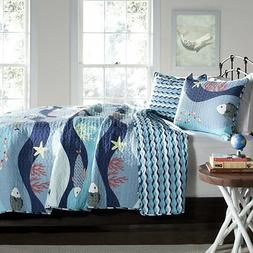 SEA LIFE Full Queen QUILT SET : BLUE FISH STARFISH TROPICAL