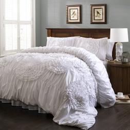 Lush Decor Serena 3-Piece Comforter Set, King, White by Lush