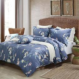 FADFAY Shabby Floral Duvet Cover Set Dusty Navy Blue Cotton