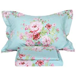 FADFAY Shabby Pink Floral 4 Piece Bed Sheet Set 100% Cotton