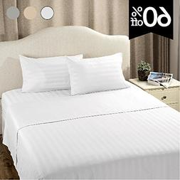 Striped Bedding Sheet Set Queen Plain White 4-Piece with Dee