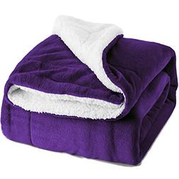 Bedsure Sherpa Bed Blanket Purple Queen Size 90x90 Bedding F