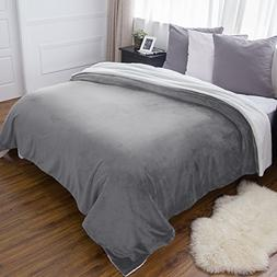 BEDSURE Sherpa Fleece Blanket Queen  Size  Grey Plush Throw