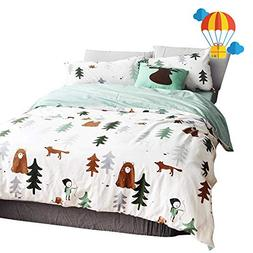 BuLuTu Siberia Forest Theme Cotton US Queen Kids Bedding Col
