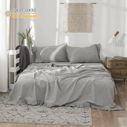 Simple&Opulence 4Pcs Linen Sheet Set with Ruffles Flax Cotto