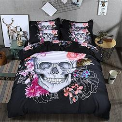 Cliab Skull Bedding Sets Queen Size Black Duvet Cover Set 7