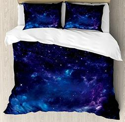 Ambesonne Sky Duvet Cover Set Queen Size, Space Illustration