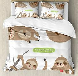 Sloth Duvet Cover Set with Pillow Shams Kids Collection Anim