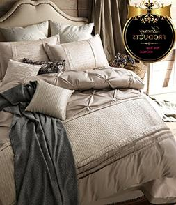 Solid Beige Duvet Cover Set Queen Luxury Bedding Set Full Vi