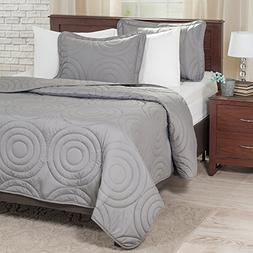 Lavish Home Solid Embossed 3 Piece Quilt Set - Full/Queen -