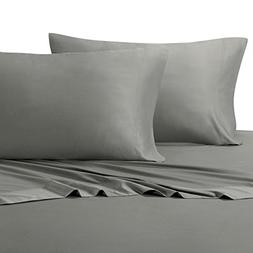 Solid Gray Olympic-Queen Size Sheets, 4PC Bed Sheet Set, 100