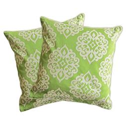 "Lush Decor Sophie Zipper Pillow Shell , 18 x 18"", Green"
