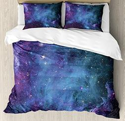 Ambesonne Space Decorations Duvet Cover Set, Galaxy Stars in