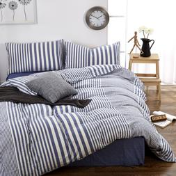HIGHBUY Striped Pattern Queen Duvet Cover Set Cotton Blue Wh