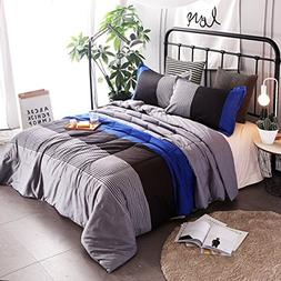 YOUSA 3-Piece Striped Quilt Set Boys Bedspreads/Coverlet Set