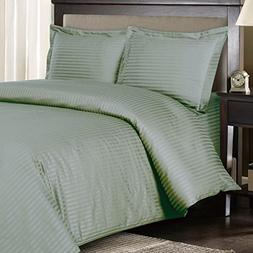 Stripes Sage 300 Thread Count Full/Queen Duvet Cover Set 100