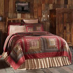 VHC Brands Tacoma Queen Cotton Quilt in Red and Brown