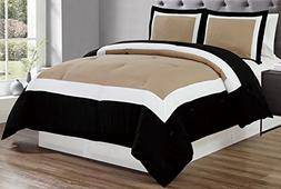 Grand Linen 3 piece TAUPE/BLACK/WHITE Goose Down Alternative