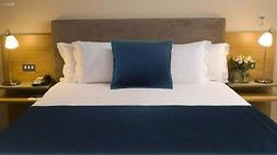 Teal Blue & Navy Blue Bed Runner + pillow cover Kantha Bed S