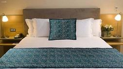 Teal Blue Bed Runner With pillow cover Bed Scarf throw cover