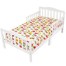 Mellanni Toddler 2 Fitted Sheets Cars and Green - Fits Baby