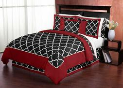 Trellis Red & Black 3 Piece Queen Bedding Set by Sweet Jojo