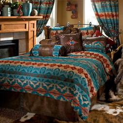 Turquoise  5 Piece Comforter Bedding Set with  Drapes Option