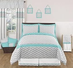 Turquoise and Gray Zig Zag Childrens, Kids, Teen 3 Piece Ful