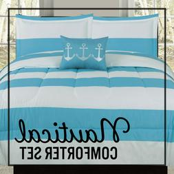 Twin Full/Queen or King Comforter Blue White Nautical Anchor
