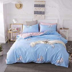 BuLuTu Unicorn Print Teen Bedding Sets Full Blue/Pink Egypti