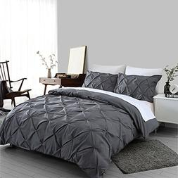 Ucharge Unique Pinch Pleat Pintuck Duvet Cover Set,3 Pieces