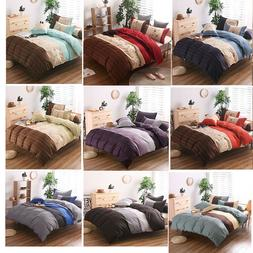US Microfiber Duvet Cover Bedding Sets Pillowcases Twin/Doub