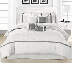 Vermont Silver & White 8 Piece Embroidered Comforter Bed In